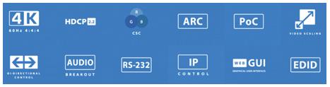 BluStream Essential 4x2 4K HDR HDMI 2.0 HDBaseT CSC ARC Matrix features