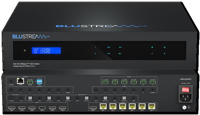 BluStream Essential HMXL66ARC 6x6 4K UHD HDBaseT CSC ARC Matrix