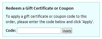Order Confirmation Coupon Entry