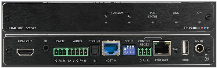 Kramer TP-594RXR 4K HDR HDMI Over HDBaseT 2.0 PoE Receiver w/ Ethernet, ARC, Audio, RS-232 & IR