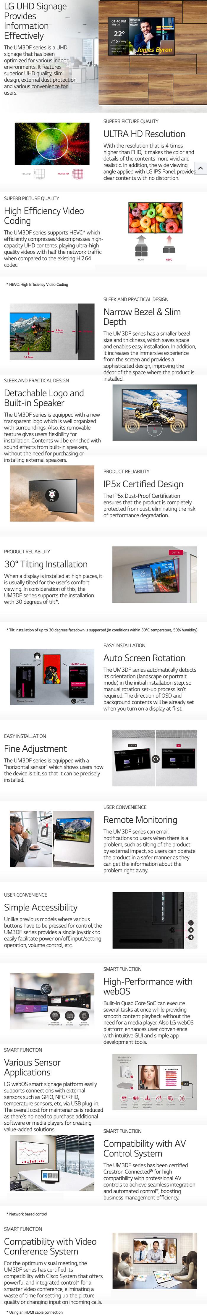 LG UM3DF Series 4K 18 7 Narrow Bezel IPS Digital Signage features