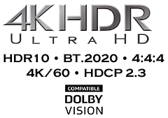 4K HDR, BT.2020, 4K/60 Hz, and HDCP 2.3 Support