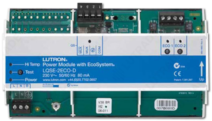 Lutron EcoSystem 2 Loops DIN Power Module with 64 Ballasts Each