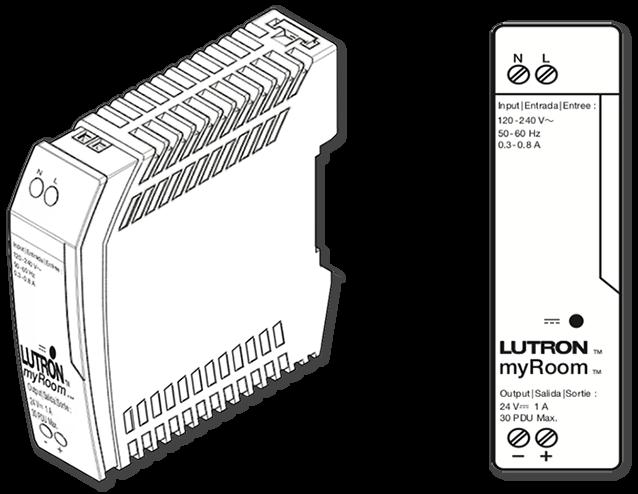 Lutron myRoom 24 VDC DIN Power Supply