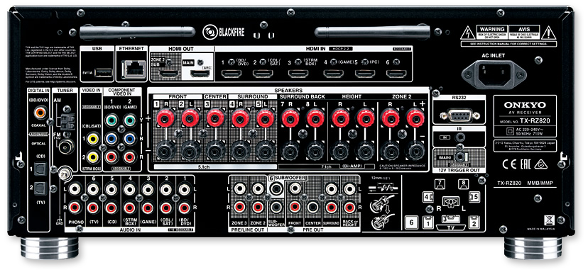 Onkyo TX-RZ820 7.2-Ch THX, 4K, HDR, DTS-X & Dolby Atmos Network AV Receiver - rear