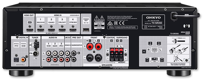 Onkyo TX-SR393 5.2 Channel A/V Receiver rear