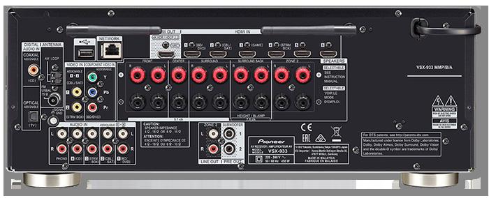 Pioneer VSX-933 7.2CH 4K UHD HDR Dolby Atmos AV Receiver - rear view