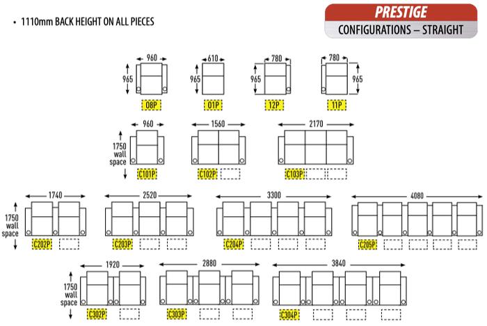 RowOne Prestige cinema seats - configurations