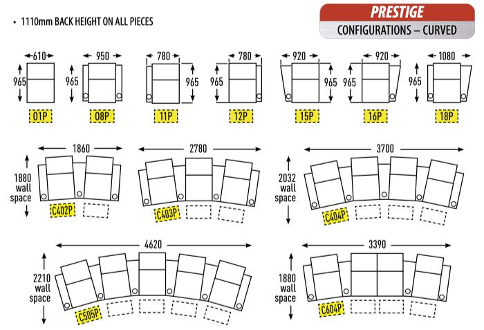 RowOne Prestige cinema seats - curved configurations
