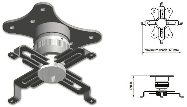ST Interfit 120-2400mm Drop Spider Arm Ceiling Projector Mount