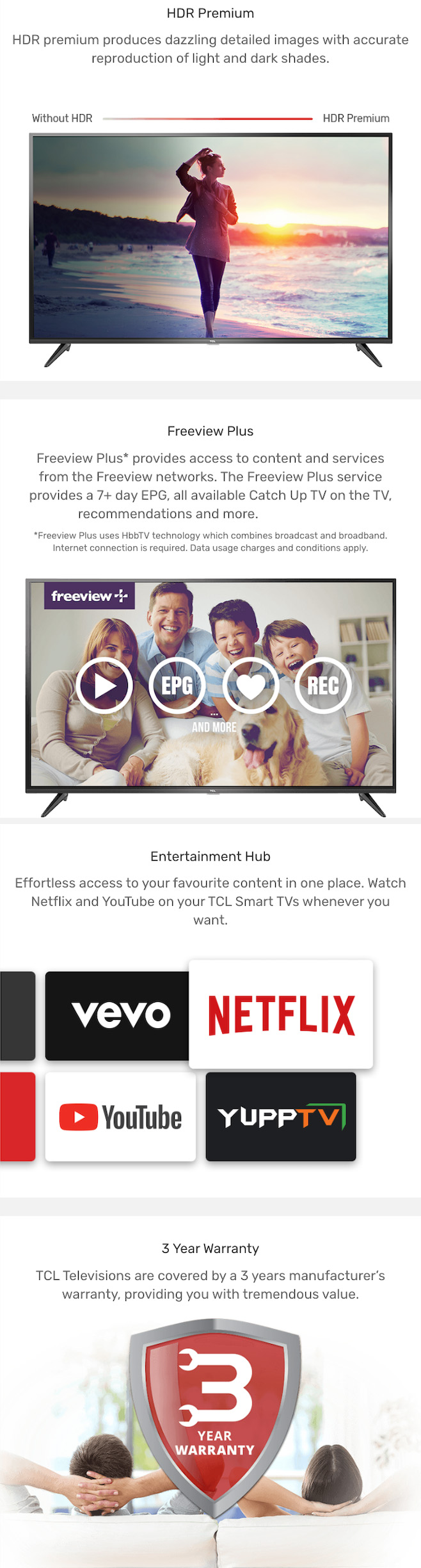 TCL P4 4K UHD HDR LED Smart TV | AV Australia Online