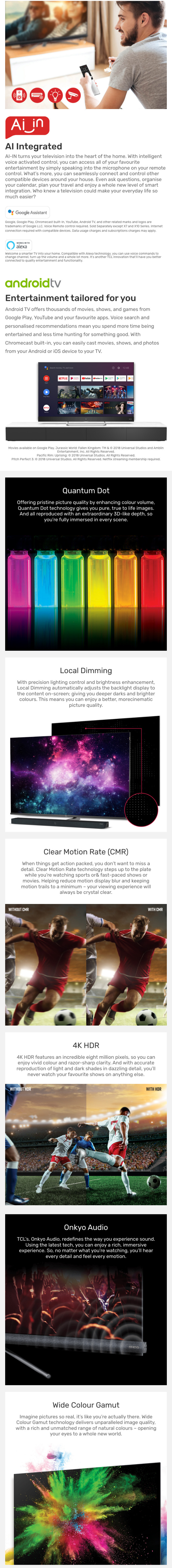 TCL X7 Premium 4K UHD HDR QLED Android TV with Onkyo Audio | AV
