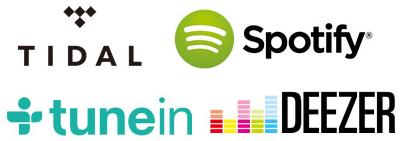 TIDAL, Spotify, Deezer and TuneIn
