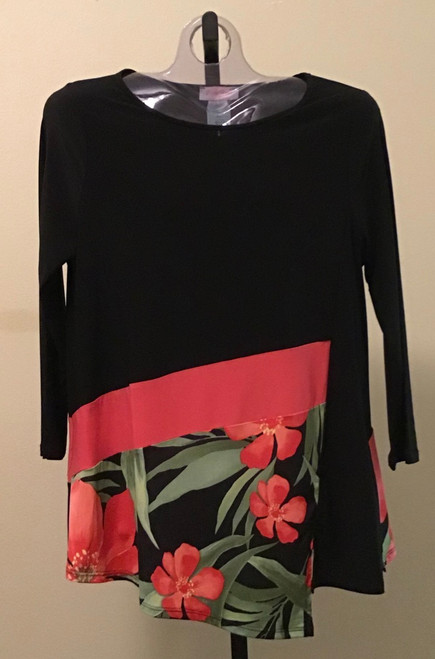 3/4 Sleeve Contemporary Tunic Coral and Black Floral