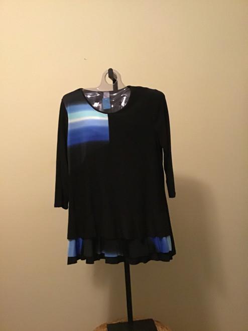 Black & Blue with Ruffle at Hem Tunic