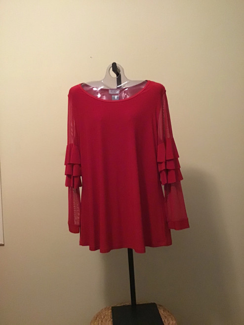 Red Romantic Tunic with Mesh Ruffle Long Sleeves