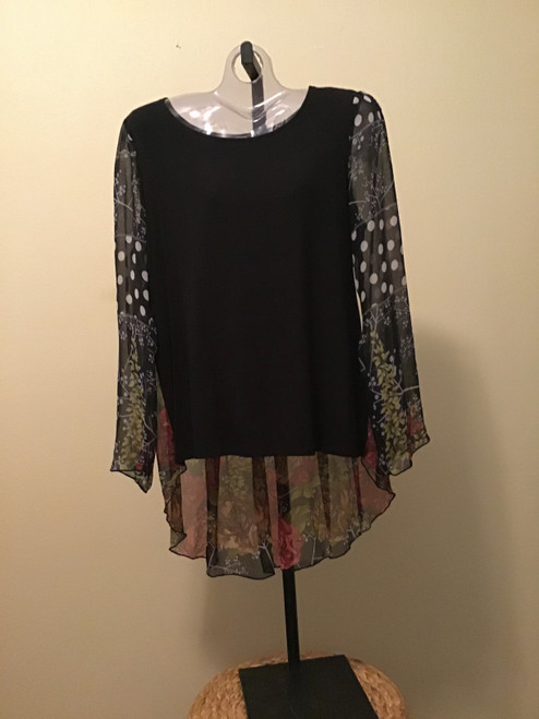 Black with Red Roses Long Sleeve Tunic
