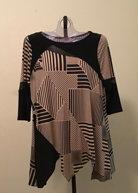 Abstract Camel and Black Mesh Tunic