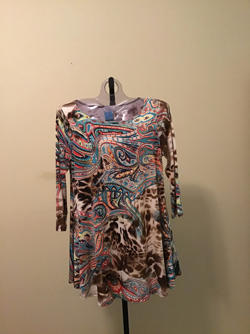 Brown and Turquoise Paisley Tunic