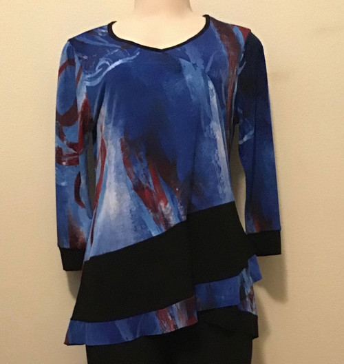 3/4 Sleeve with Black Band at Hip Tunic Royal Blue