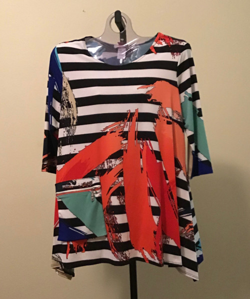 Black and White Strip with Abstract Design Tunic