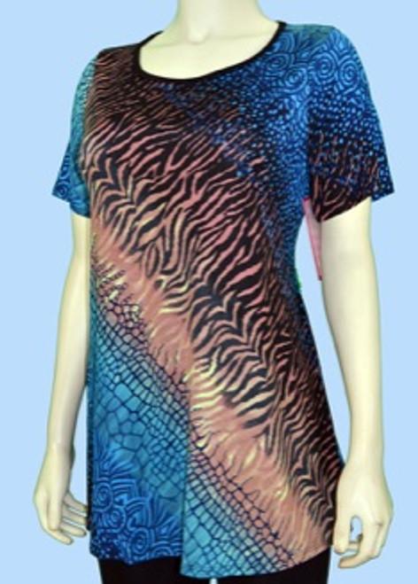 Animal Print Tunic - Blue, Brown and Black