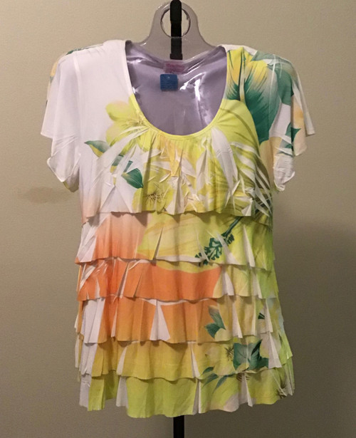 Floral Layered Top Yellow and Orange
