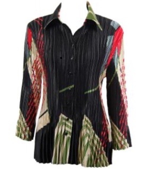 3/4 Sleeve Top or Jacket Black Abstract
