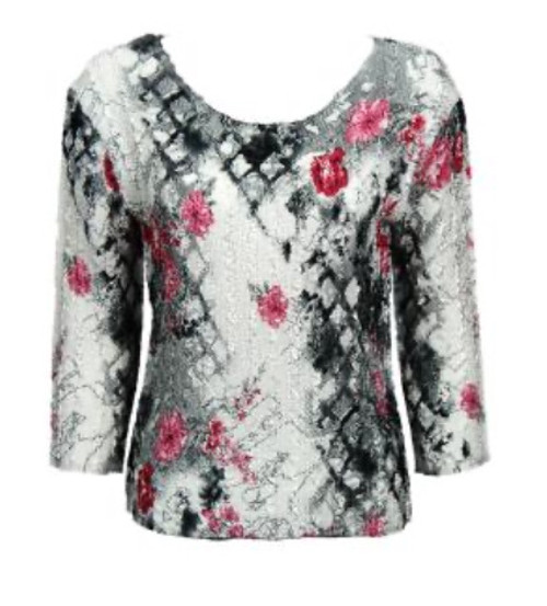 3/4 Sleeve Lightweight Top Pink and Gray Floral
