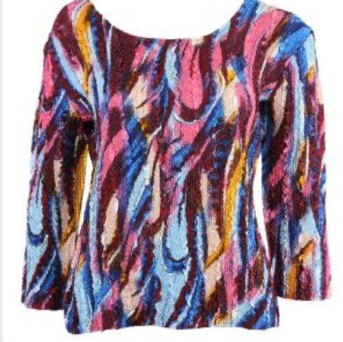 Reversible Lightweight Top Burgundy and Blue Abstract reverses to Burgundy