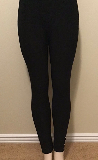 Full-Length Pants with Crystal Buttons Black