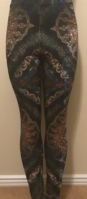 Navy Print Velvet Leggings