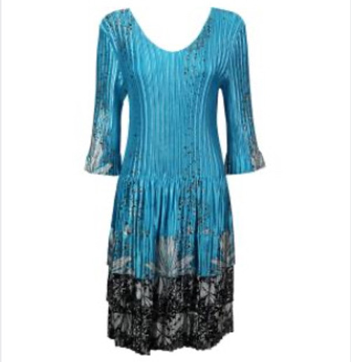 3/4 Sleeve Dress Turquoise with Black and White Floral Border