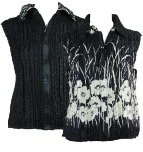 Reversible Zipper Vest Black with Ivory Poppies reverses to Black
