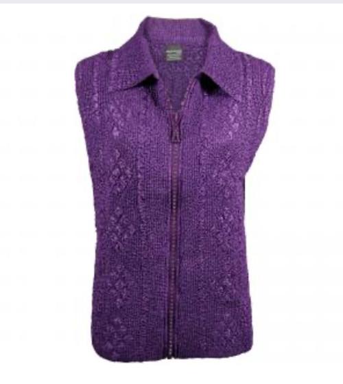 Rhinestone Zipper Vest Purple
