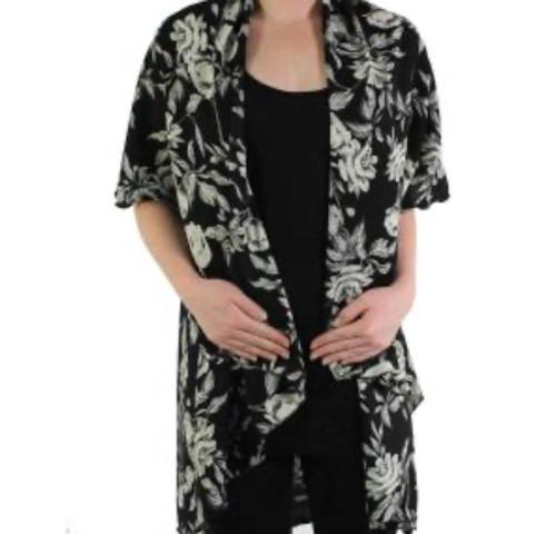 Black and White Floral Chiffon Vest
