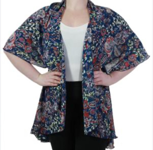 Floral Chiffon Vest Royal Blue and Red Floral