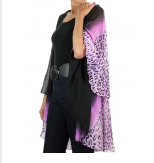 Bling Cheetah Print Chiffon Vest Purple