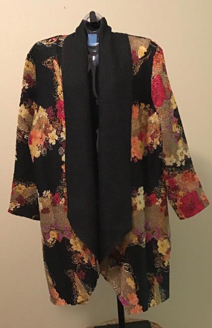 Crush Kimono Duster Print Jacket Earth Tone Floral