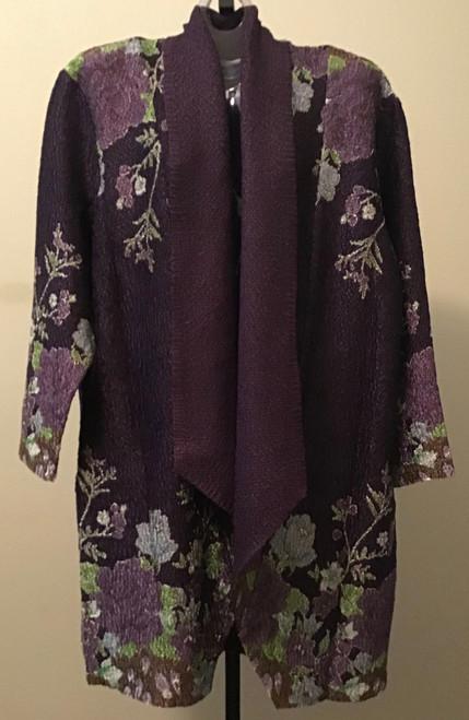 Lightweight Kimono Duster Print Jacket Eggplant Floral