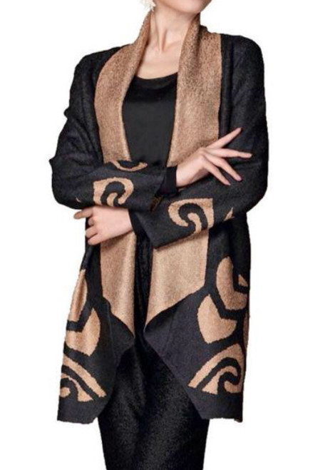 Lightweight Kimono Style Duster Jacket Black with Champagne Border