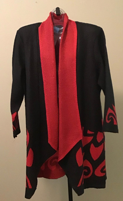 Lightweight Kimono Style Duster Jacket Black with Red Border
