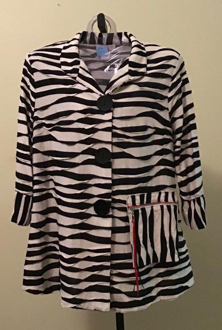Zebra print jacket Red Zipper Pocket
