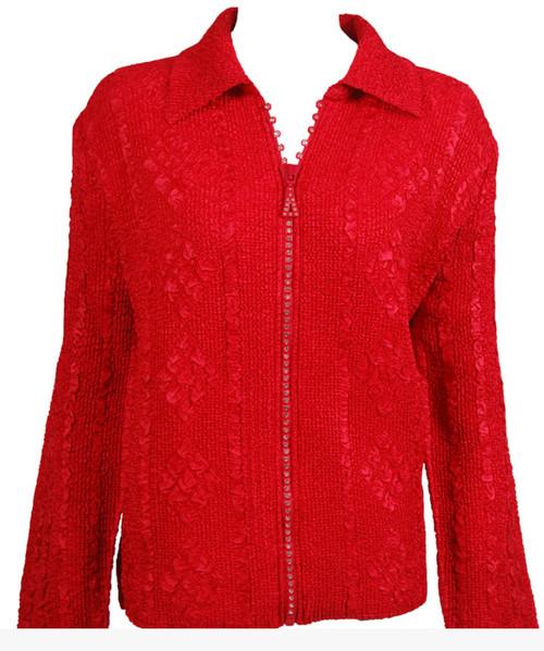 Rhinestone Zipper Jacket Red