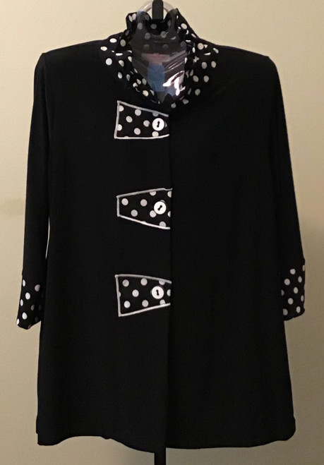 Black with Black and White Polka Dots