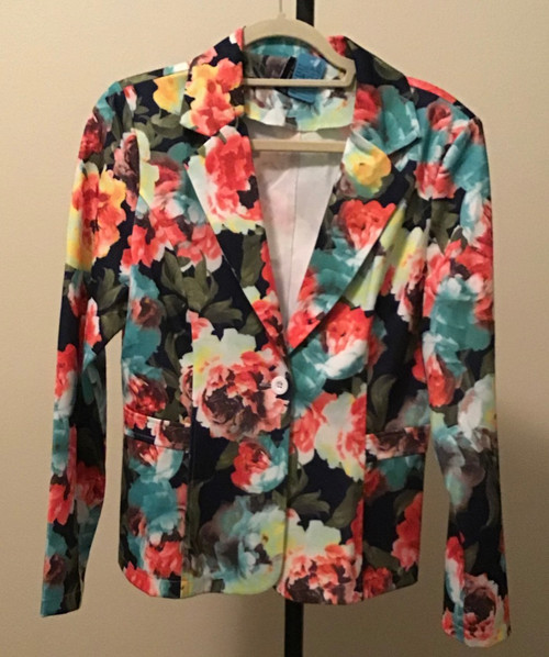 Floral Print Jacket Coral and Aqua with Navy Background
