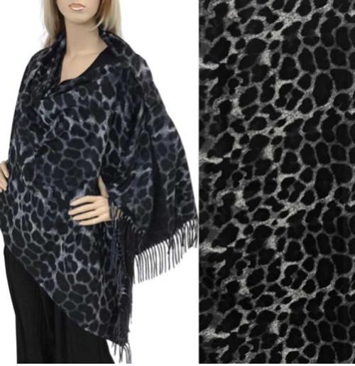 Two-Button Shawl Black & Gray Leopard Print