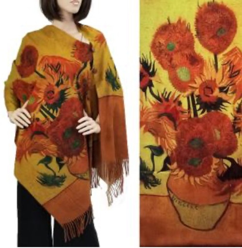 Two-Button Shawl Sunflower in Vase with Brown Buttons