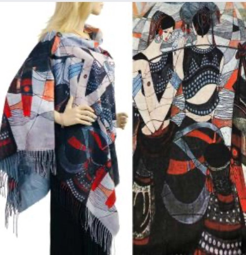 Two-Button Shawl Mirror Reflection Lady Blue/Red with Black Buttons