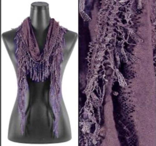 Lacy Open-End Scarf Dusty Purple